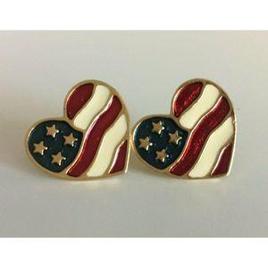 Avon Women's Earrings American Flag Enamel Gold